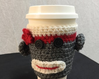 Sock Monkey Coffee Sleeve cozy