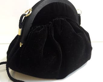 Black velvet opera bag evening handbag long strap converts to clutch purse