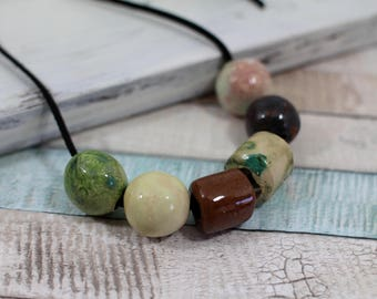 Statement Necklace Ceramic Jewelry Boho necklace Colorful jewelry Ceramic necklace Chic necklace Chunky Necklace Long necklace Ball necklace
