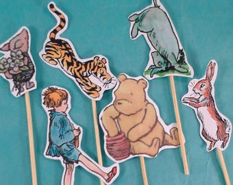 Pooh cupcake toppers, classic pooh birthday, shower toppers G293, cupcakes