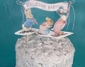 Shabby Chic Peter Rabbit cake topper, fabric Peter Rabbit baby shower decoration H156