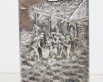 Vintage Jorgen Th. Steffensen Denmark Silver Plate Silver Metal Cigarette Case Box