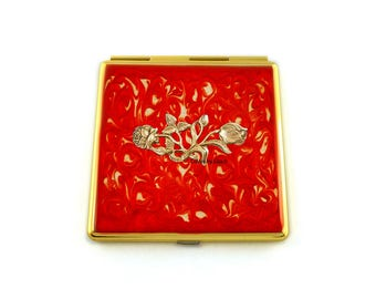 Roses Compact Mirror Inlaid in Hand Painted Enamel Red in Swirl Design with Color and Personalized Option