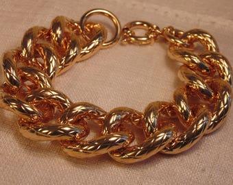 Italy 18K over Brass Bracelet Italy OTC Bracelet Gold Bracelet Chunky Bracelet Gold Link Italy Bracelet Designer
