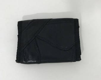 Vintage 80s Black Leather Patchwork Trifold Wallet
