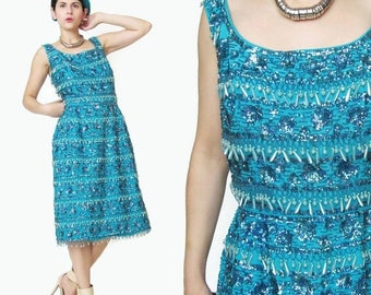 25% off Summer SALE 1960s Sequin Dress Turquoise Blue Party Dress Vintage 60s Beaded Dress Sleeveless Wiggle Dress Pinup Teal Fitted Fringe