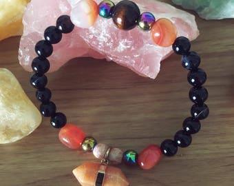 Peach Aventurine and Gemstones Beaded Stretch Bracelet