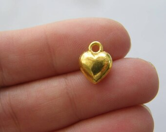 10 Heart charms gold tone GC161