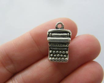 4 Typewriter I love you charms antique silver tone PT78