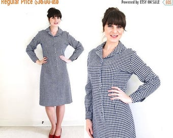 ON SALE Vintage Houndstooth Plaid Dress / 60s Wool Dress