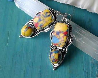 Mosaic Jasper Earrings ,Estate Sale Find