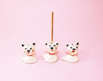 Little Dog Incense Holder Ceramic, French Bulldog Incense Holder Ceramic, French Bulldog Flower Holder Hand-Built Pottery