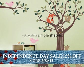 Independence Day Sale - Forest Friends Tree Decal Set - Kids Wall Decals, Baby Nursery Wall Decals