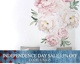 Independence Day Sale - Peony Flowers Wall Sticker, Vintage Pink Watercolor Peony Wall Stickers - Peel and Stick Removable Stickers