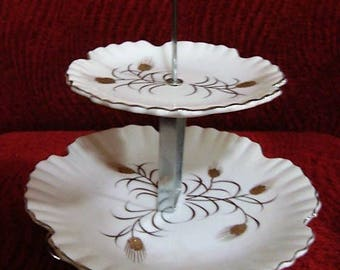 2 Tier Serving Tray by Norcrest 22K Gold and Silver Gilt Tidbit Serving Tray Wheat Design # GW-3 Serving Tray With Stand