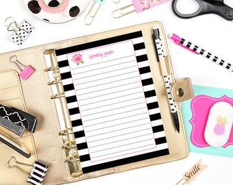 Personal Planner Inserts / Weekly Goals / Weekly Goals List / Printable Insert / Planner Pages / Printable Pages / Goals List / Goals Chart