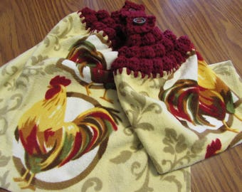 Hanging Kitchen Dish Towels with Crochet Tops Towel Set Chicken Roosters Handmade