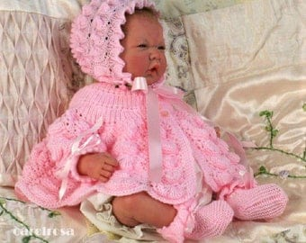 Knitting Pattern - Instant download PDF - Matinee coat, Bonnet/Helmet, Mitts & Booties - 18-19 inch chest