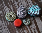 Polymer Clay Beads - Bead Bundle - Destash - Handmade beads - Organic Shaped Beads - Bead Soup Beads