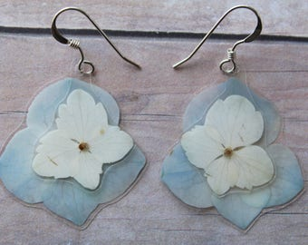 Blue Layered Hydrangea Earrings - Real Pressed Flower Earrings - Real Hydrangea Jewelry - Sterling Silver Earrings - Pressed Hydrangeas