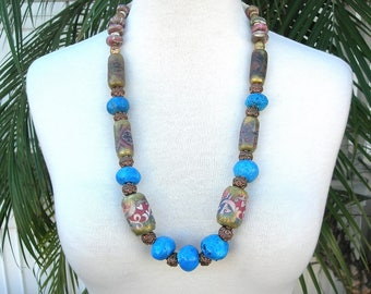 Rare Blue Persian Faience Donkey Beads, Moroccan-style Poly Beads, Copper Beads, Fab Earrings, Statement Necklace Set by SandraDesigns