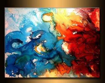 Large Modern Red And Blue Abstract Painting, Contemporary Wall Art by Henry Parsinia Large 48x36