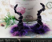 CUSTOM black and teal horns with faux fur - faerie, fairy, goth, witch, pixie, elf, goblin, fantasy, cosplay