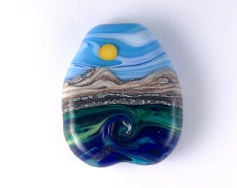 Aventurine Waves - Handmade Lampwork Glass Bead Seascape