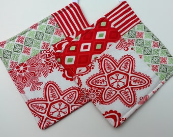 Winter, Christmas, Holiday Quilted Potholder Set