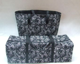 Cricut Explore Air 2 Carrying Case /Cricut Maker /Silhouette Cameo 3 Tote /Brother ScanNCut /Black, White Paisley Print fabric/Accessory Bag