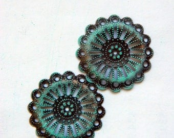 Patina Green filigree Gear wheel round metal stamping (3 package option) faux patina Art nouveau jewelry backing for layering and setting