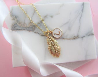 Bridesmaids Gift Set Necklace, Set of 6 Necklaces,Golden Feather Necklace, Personalised Necklace,Gold Necklace,Charm Necklace, Gift for Her