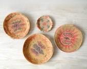 Vintage Basket Set, Four Colorful Coil Baskets, Wall Baskets, Wall Basket Set