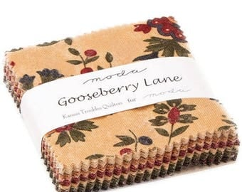 "ON SALE Gooseberry Lane Mini 2.5"" Charm Pack by Kansas Troubles Quilters for Moda Fabric 9540MC 42 2.5"" Fabric Squares"