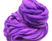 Super bulky handspun yarn, spun thick and thin in hand dyed purple merino wool - 50 yards, 3.5 ounces/100 grams