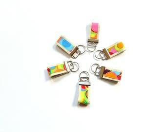 Mini key fob, preppy fob, multi colors, key finder, sweet 16 gift, fabric key fob, finger key chain, key keeper, key holder, gift for her