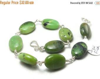 25% Off Sale Green Chrysoprase Argentium Sterling Silver Wire Wrapped Bracelet
