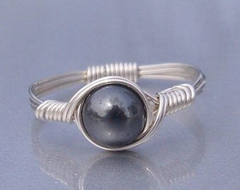 25% Off Sale Hematite Argentium Sterling Silver Wire Wrapped Ring