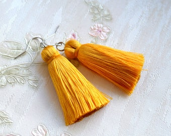 Yellow tassel earrings Bohemian earrings Summer jewelry Yellow boho jewelry Gift for her Stylish jewelry Yellow jewelry Yellow earring