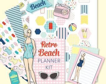Printable Retro BEACH Planner Kit!-Digital Instant Download-die cuts, stickers, digital paper, bookmarks, Bando, Happy Planner, hand drawn
