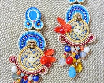 Tile Sun Earrings, Soutache Earrings, chandeliers, azulejos tile sicily earrings, italian style, fiber art earrings, made in Italy