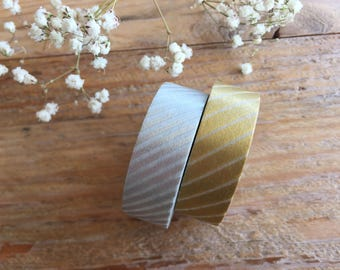 MT 2012 - Japanese Washi Masking Tape / Gold & Silver Stripes for journaling, scrapbooking, packaging, party deco, wedding invites