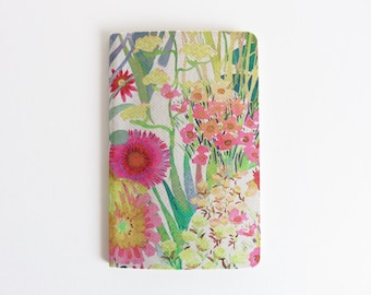 Liberty Lawn 'Tresco F' Fabric Cover Moleskine Cahier Pocket Notebook