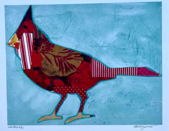 Red Cardinal Silhouette Mixed Media Art Print Gifts Under 25 Home Decor Gifts for Her holiday gift