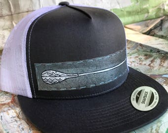 Hand painted paddle patch snap back hat