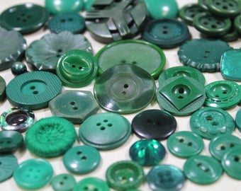Green Plastic Buttons 56 New and Old Emerald Green Buttons Casein Plastic Sewing Buttons