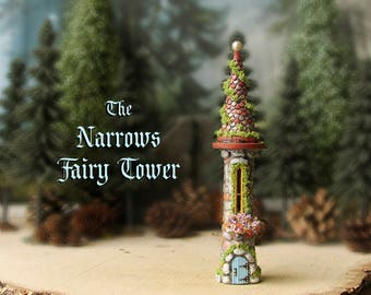 "The ""Narrows"" Fairy Garden Tower - Enchanted Round N Scale Stone Folly with Flower Box, Round Tile Roof and Pearl Finial - Terrarium Decor"