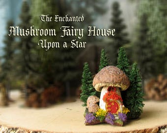 Mushroom Fairy House Upon a Star - Miniature Woodland Mushroom House with Round Fairy Door, Pine Trees, Wildflowers, Mailbox and Flowerbox