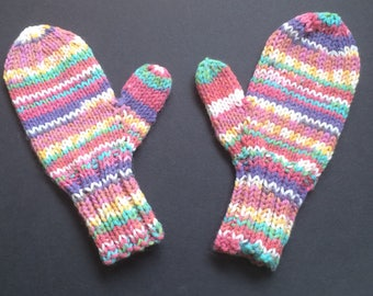 Children's Mittens - Toddler's Mittens - Hand Knit Mittens - Machine Washable and Dryable - Gift for Parents - Pink, Mint Green, Purple