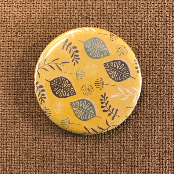 Leaves & seeds (Yellow) - Fridge Magnet
